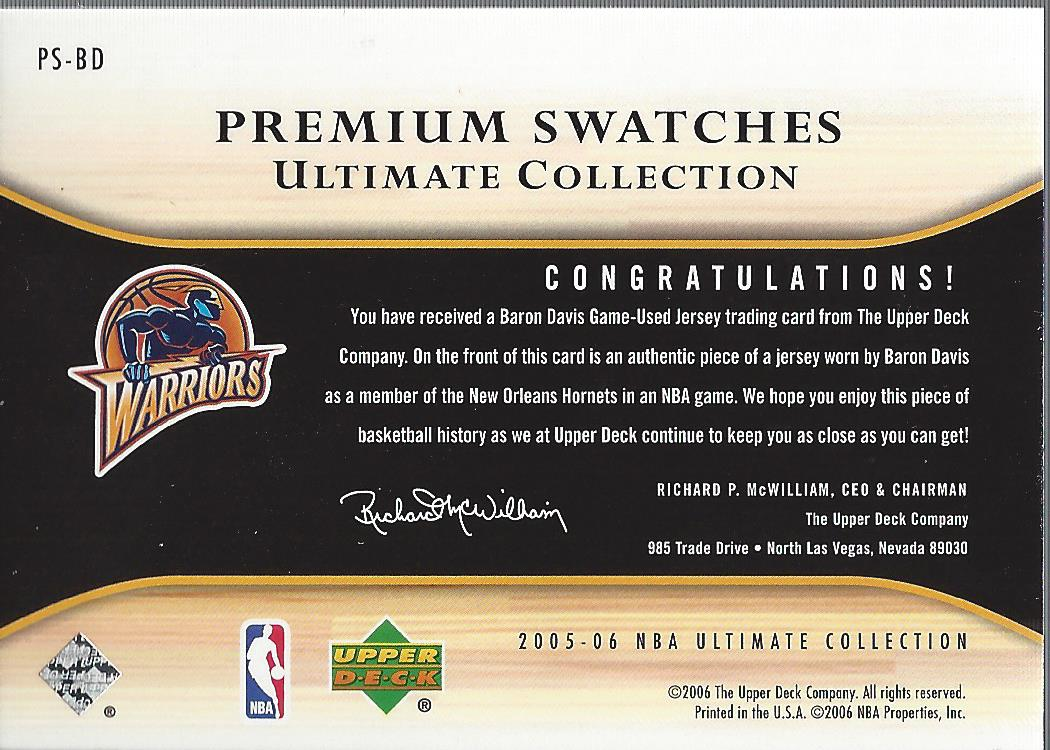 2005-06 Ultimate Collection Premium Swatches #PSBD Baron Davis back image