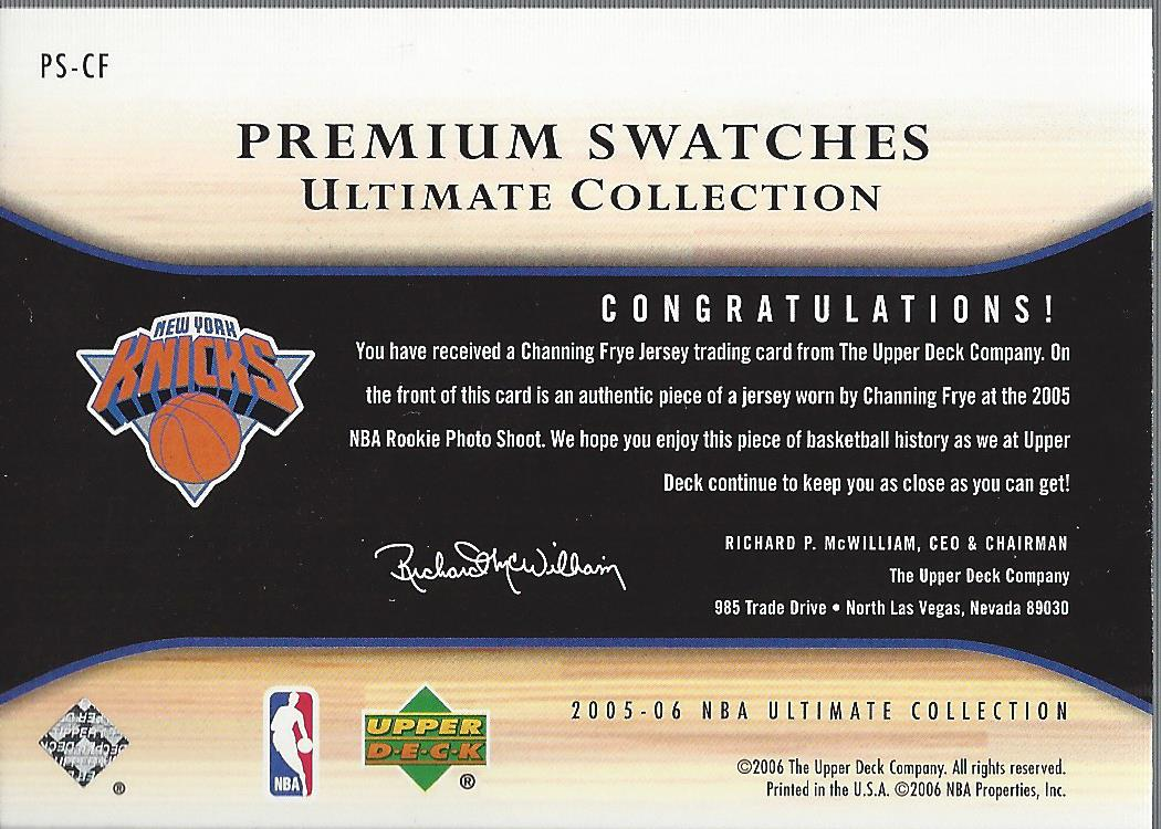 2005-06 Ultimate Collection Premium Swatches #PSCF Channing Frye back image