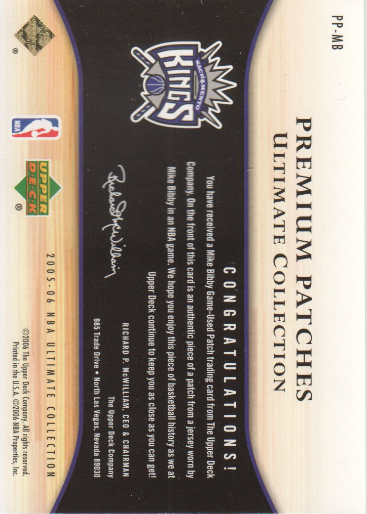 2005-06 Ultimate Collection Premium Patches #PPMB Mike Bibby/50 back image