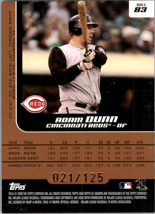 2006 Topps Co-Signers Changing Faces Silver Bronze #83C Adam Dunn/Ken Griffey Jr. back image