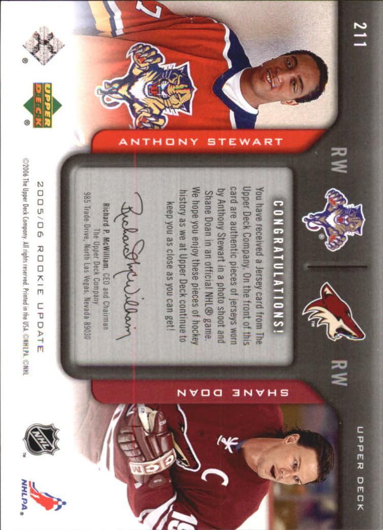 2005-06 Upper Deck Rookie Update #211 Anthony Stewart JSY RC/Shane Doan JSY back image