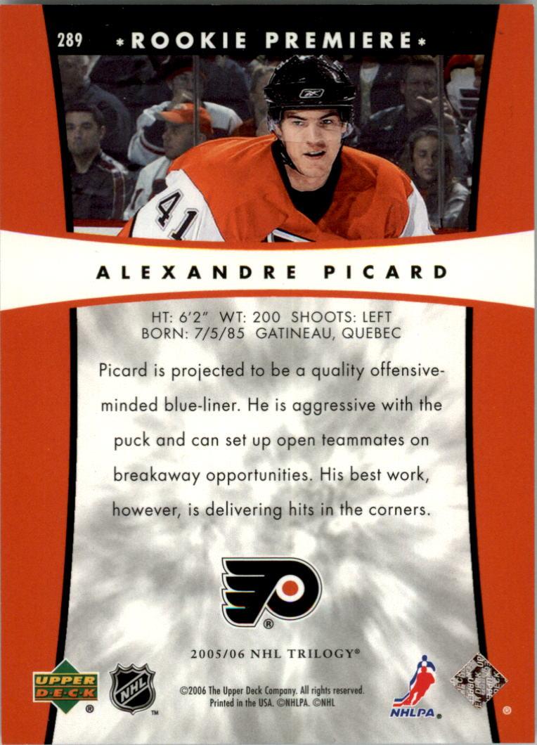 2005-06 Upper Deck Trilogy #289 Alexandre Picard RC back image