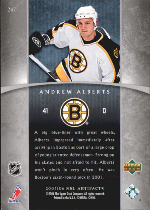 2005-06 Artifacts #247 Andrew Alberts RC back image