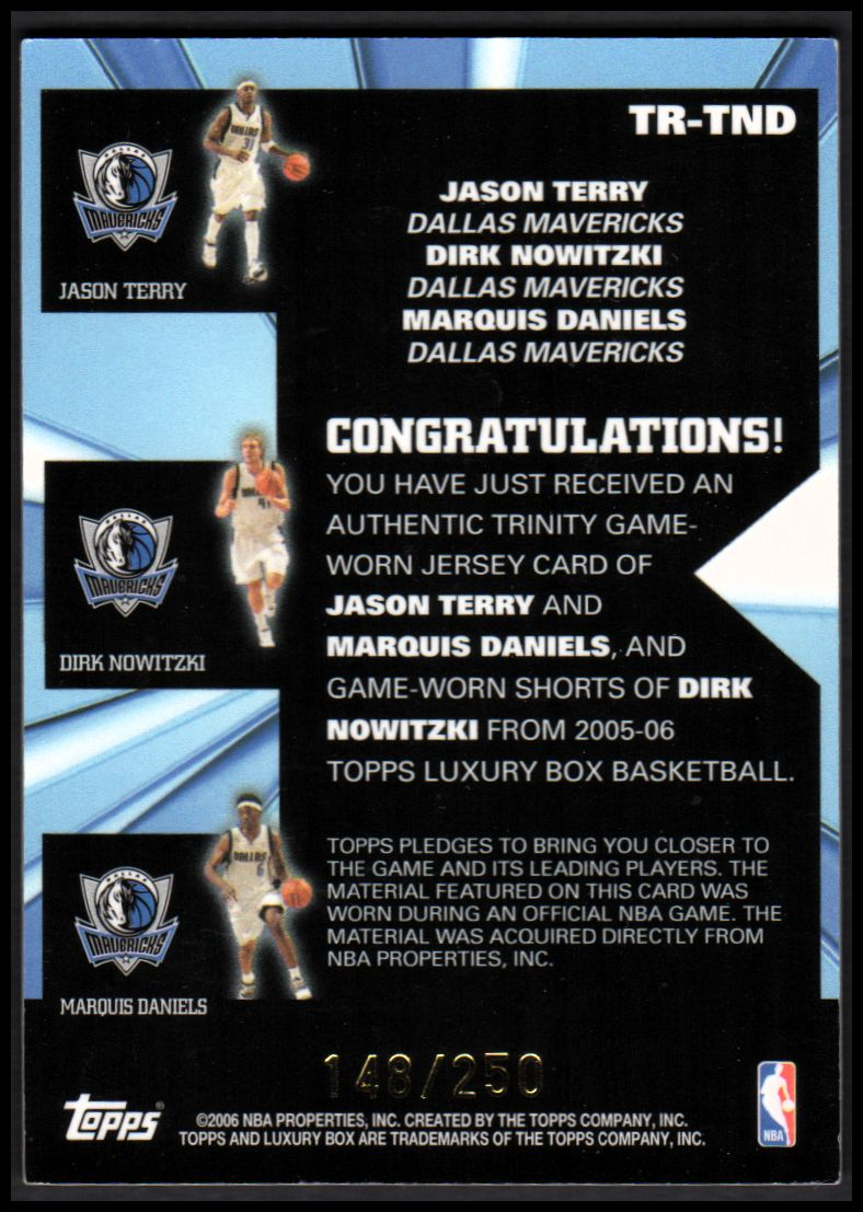 2005-06 Topps Luxury Box Trinity Triple Relics #TND Jason Terry/Dirk Nowitzki/Marquis Daniels back image