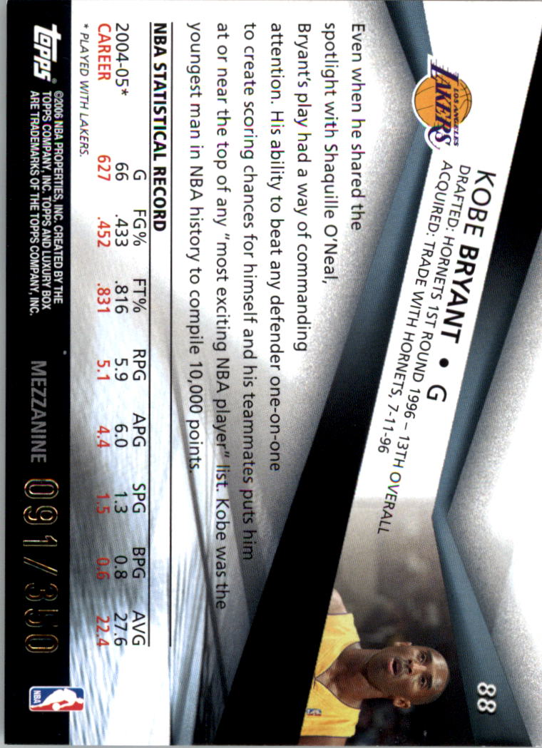 2005-06 Topps Luxury Box 350 #88 Kobe Bryant back image