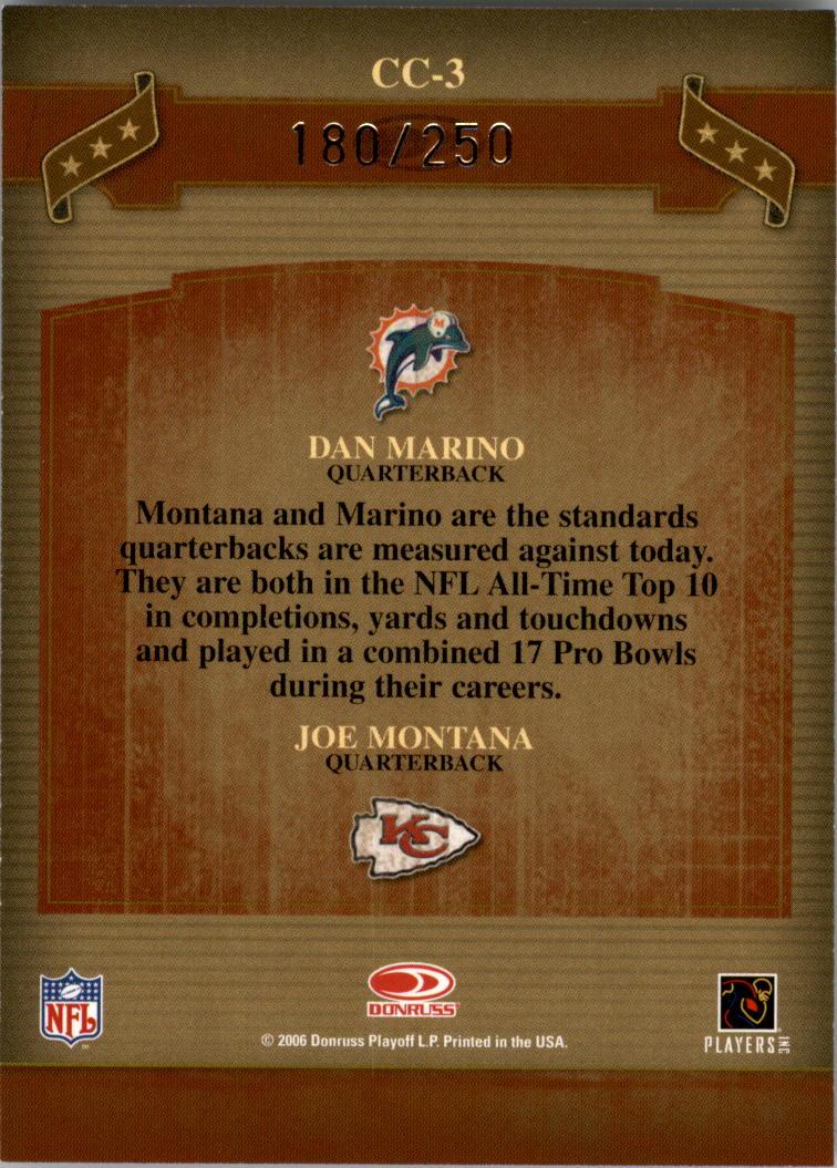 2006 Donruss Classics Classic Combos Silver #3 Dan Marino/Joe Montana back image