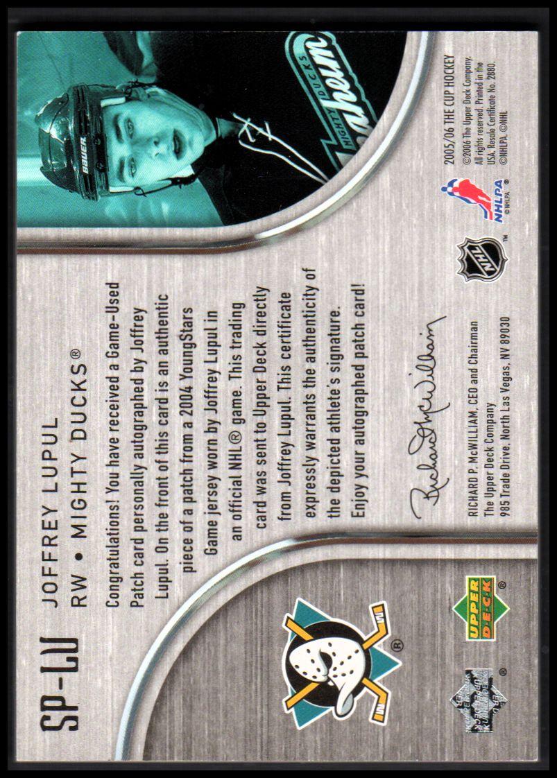 2005-06 The Cup Signature Patches #SPLU Joffrey Lupul back image