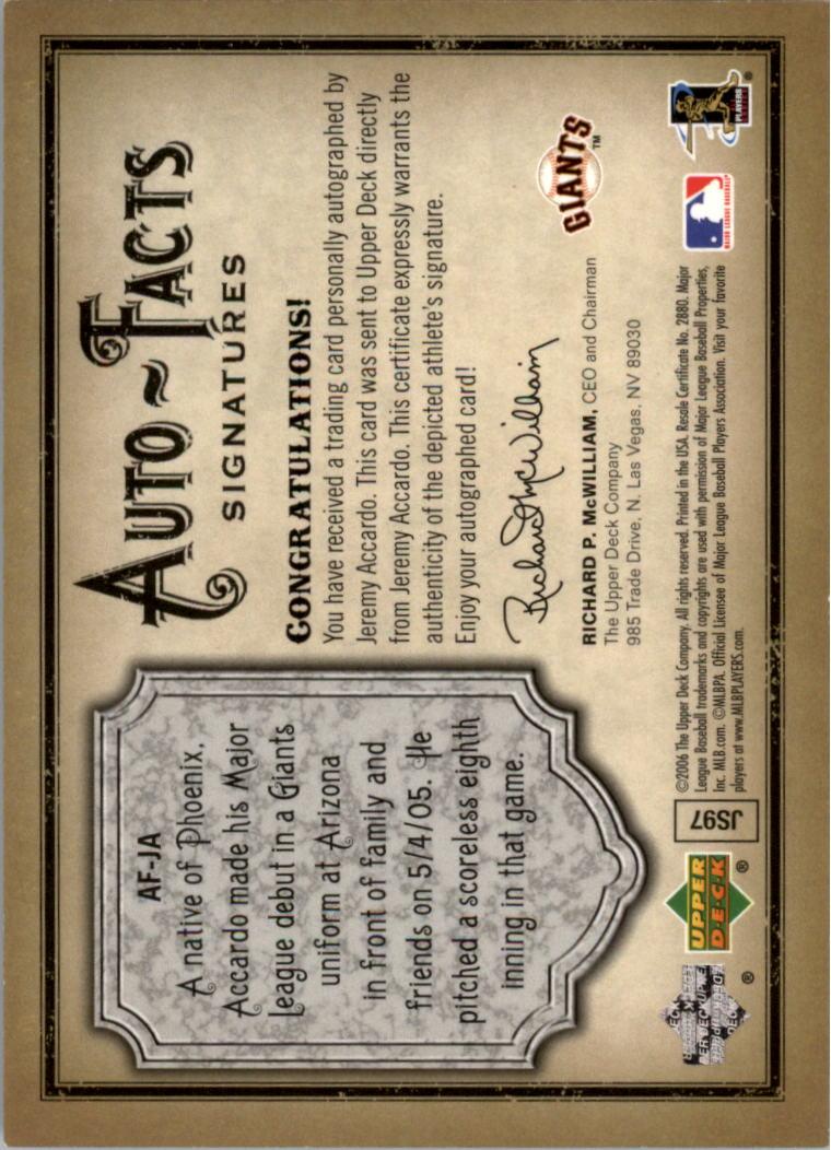 2006 Artifacts Auto-Facts Signatures #JA Jeremy Accardo/800 back image