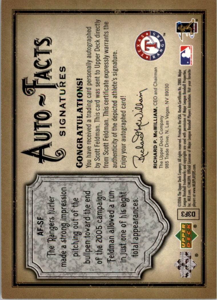 2006 Artifacts Auto-Facts Signatures #SF Scott Feldman/800 back image