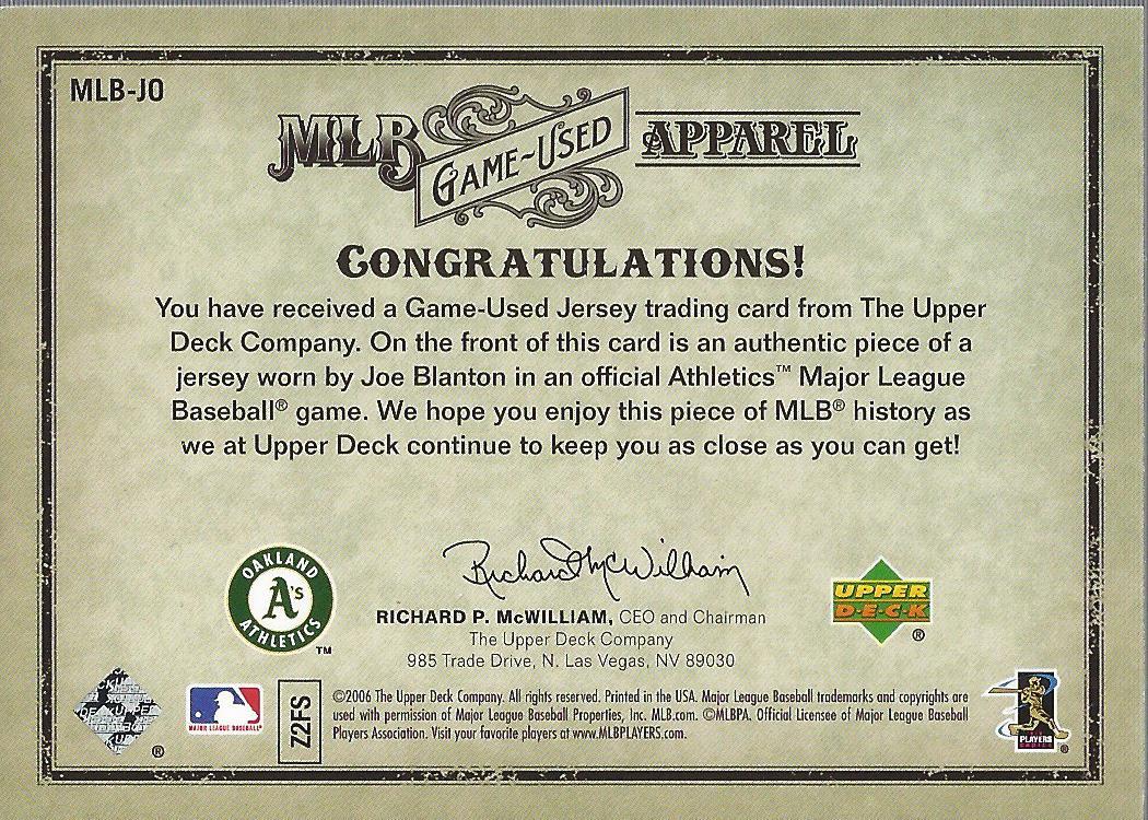 2006 Artifacts MLB Game-Used Apparel Gold Limited #JO Joe Blanton Jsy/150 back image