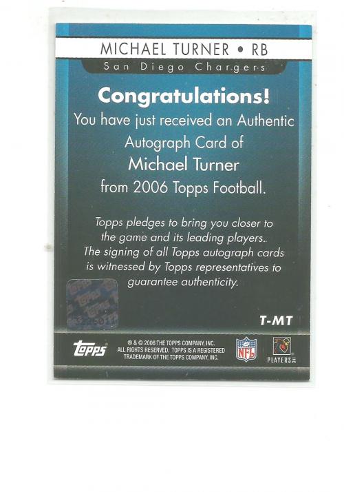 2006 Topps Autographs #TMT Michael Turner G back image