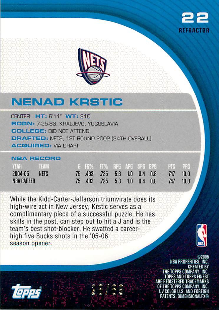 2005-06 Finest Refractors Green #22 Nenad Krstic back image