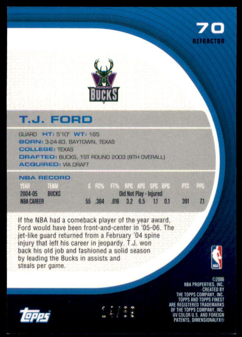 2005-06 Finest Refractors Green #70 T.J. Ford back image