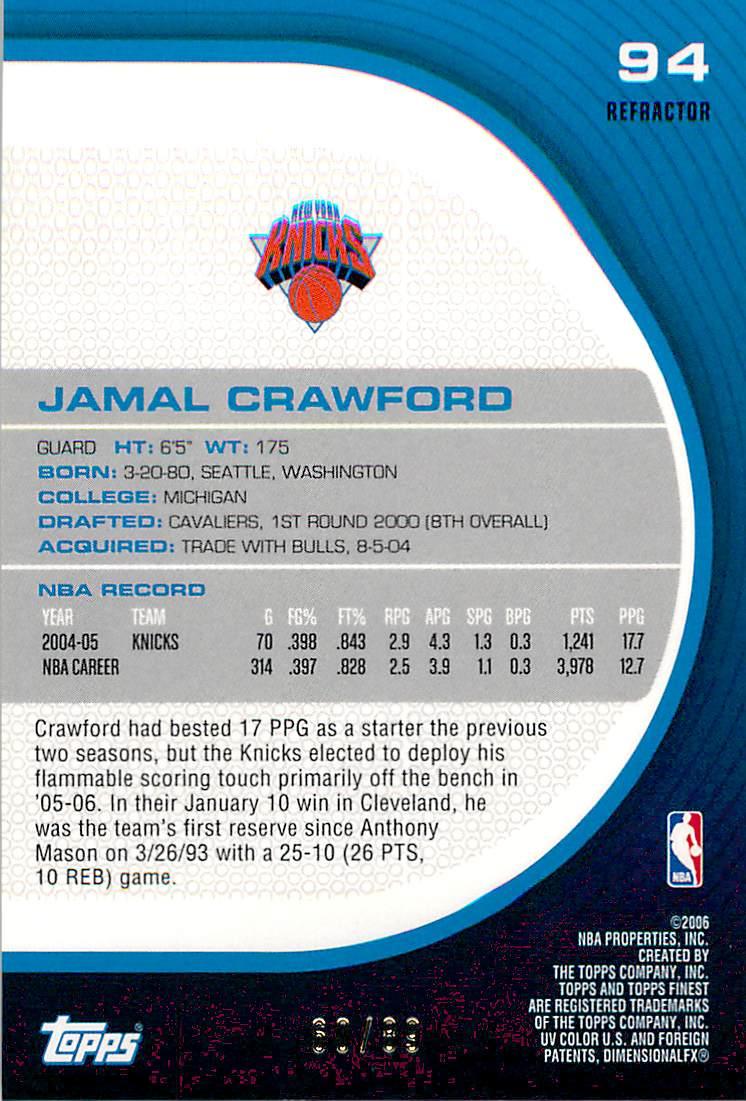 2005-06 Finest Refractors Green #94 Jamal Crawford back image