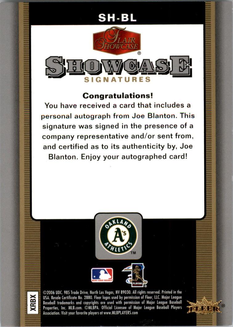 2006 Flair Showcase Signatures #BL Joe Blanton back image