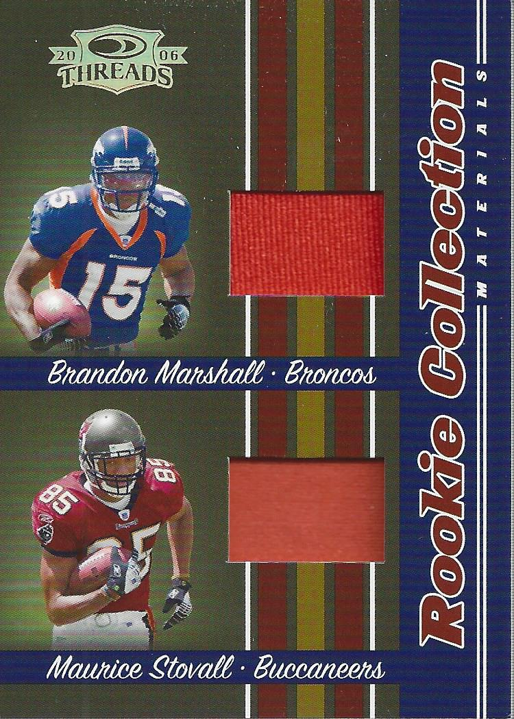 2006 Donruss Threads Rookie Collection Materials Combo Prime #10 Brandon Marshall/Maurice Stovall