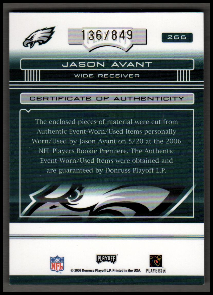 2006 Absolute Memorabilia #266 Jason Avant RPM RC back image