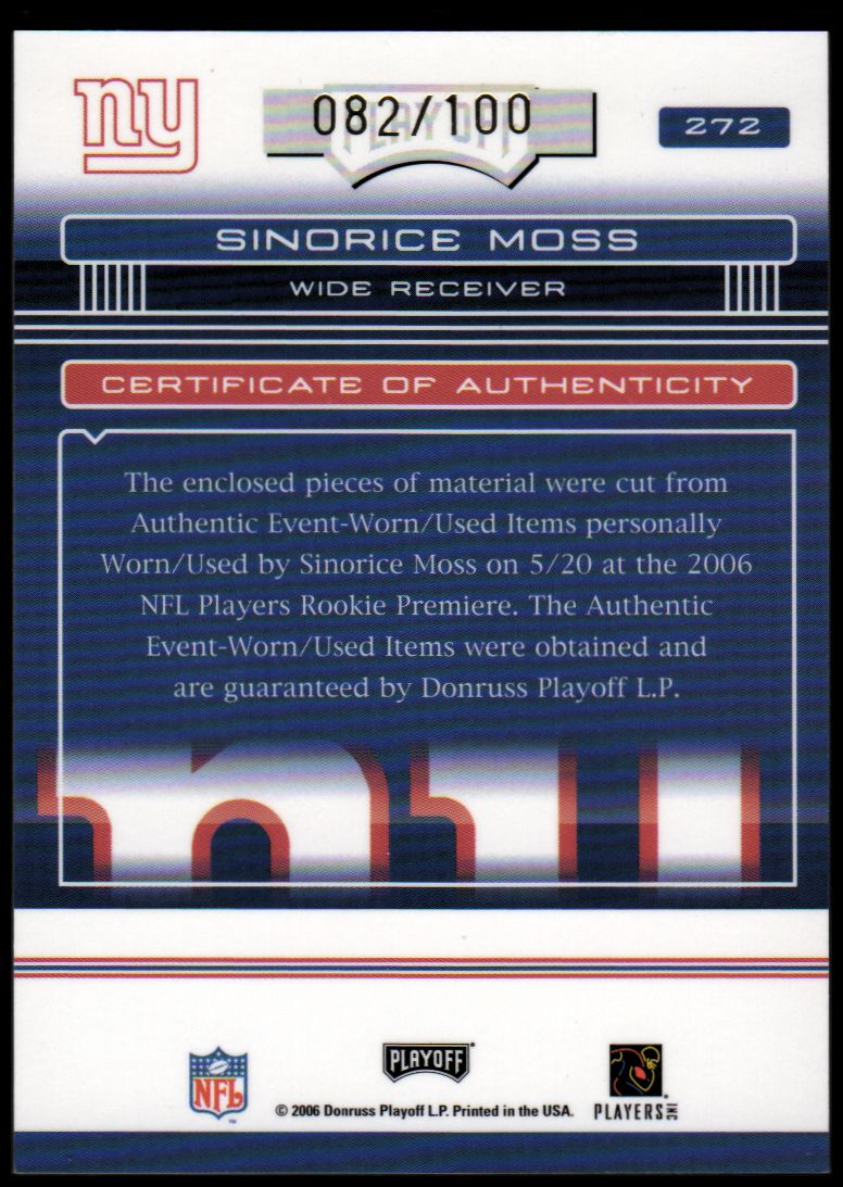 2006 Absolute Memorabilia Rookie Premiere Materials Autographs #272 Sinorice Moss back image