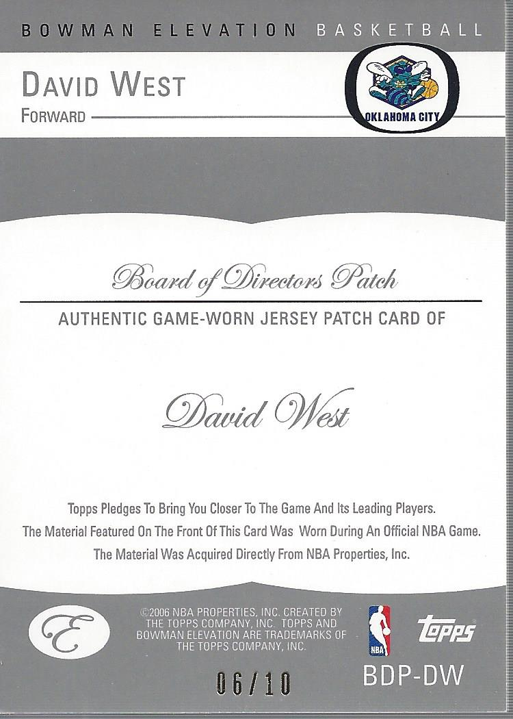 2006-07 Bowman Elevation Board of Directors Patches #PDW David West back image