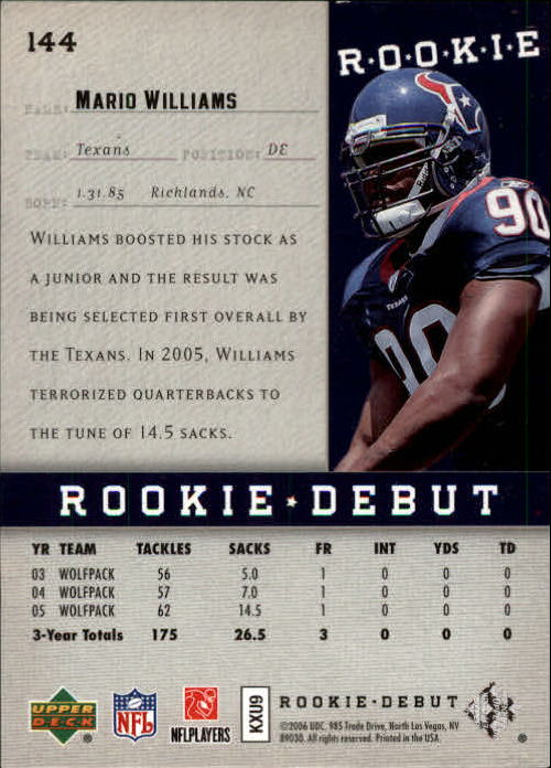 2006 Upper Deck Rookie Debut Holofoil #144 Mario Williams back image