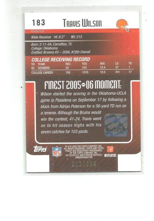 2006 Finest Refractors #183 Travis Wilson AU back image