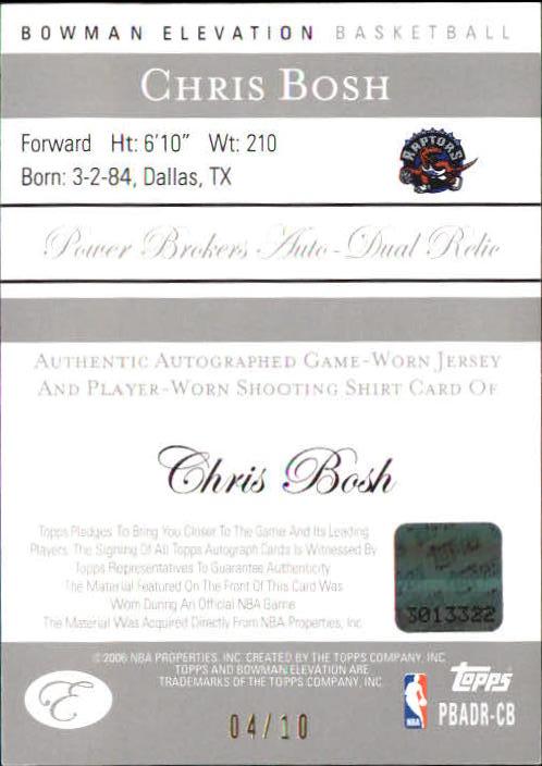 2006-07 Bowman Elevation Power Brokers Relics Dual Autographs Blue #RCB Chris Bosh back image