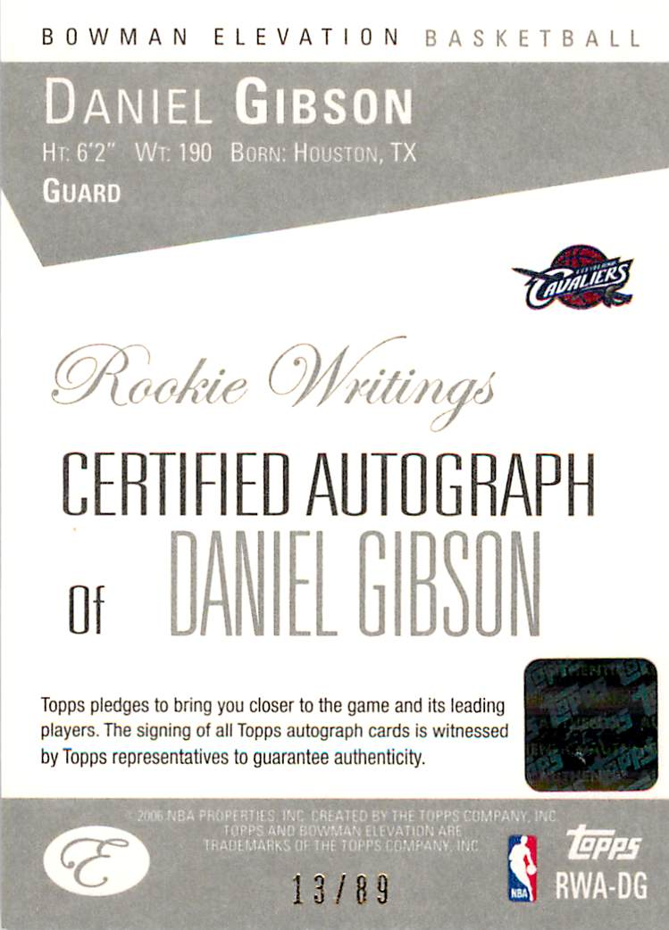 2006-07 Bowman Elevation Rookie Writing Autographs Red #DG Daniel Gibson/89 back image