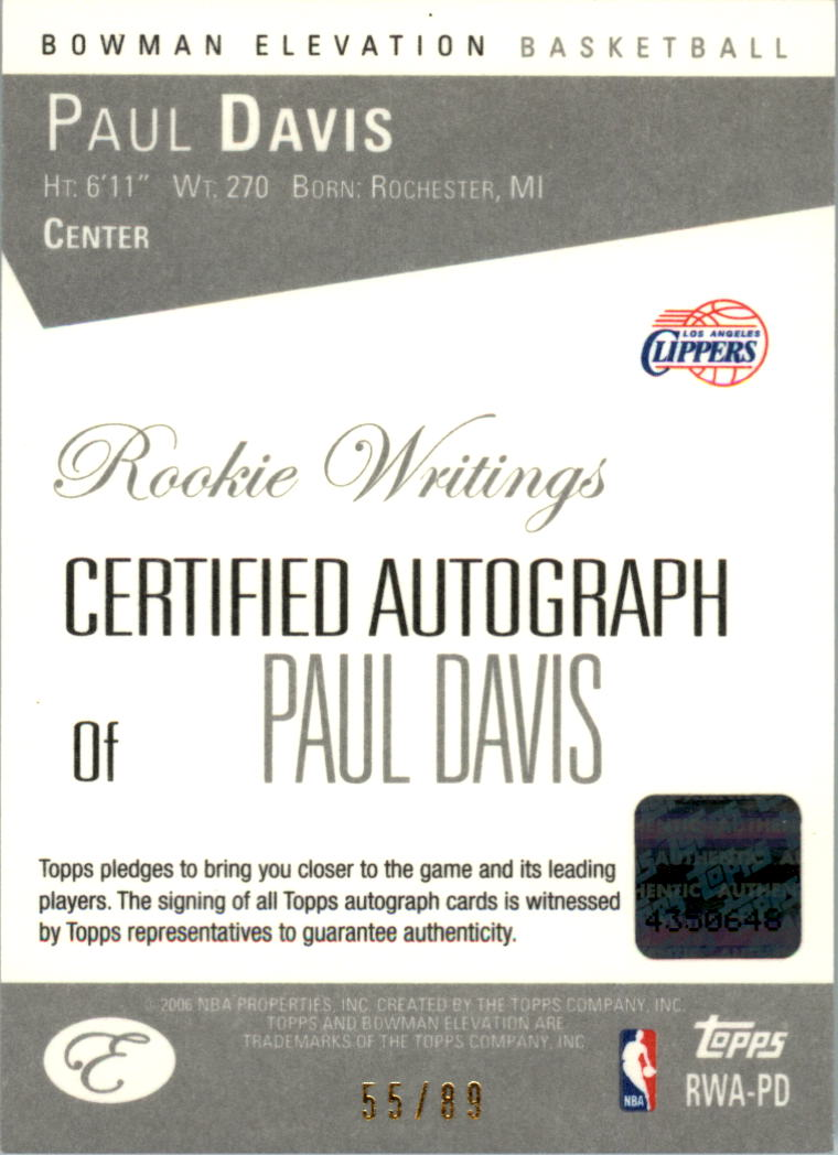 2006-07 Bowman Elevation Rookie Writing Autographs Red #PD Paul Davis/89 back image