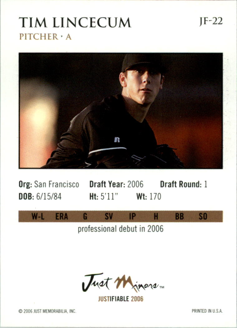 2006 Justifiable #22 Tim Lincecum back image