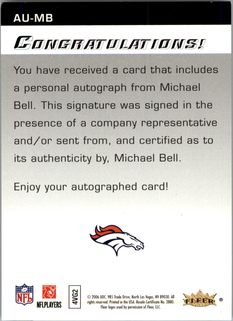 2006 Flair Showcase Autographics #AUMB Mike Bell back image