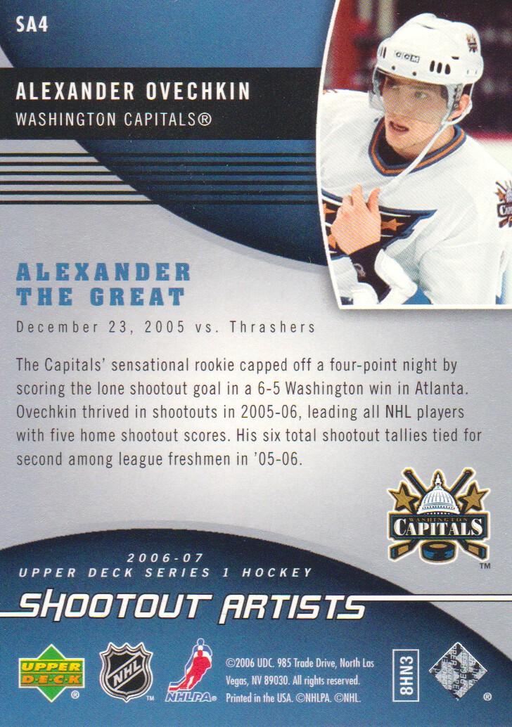 2006-07 Upper Deck Shootout Artists #SA4 Alexander Ovechkin back image