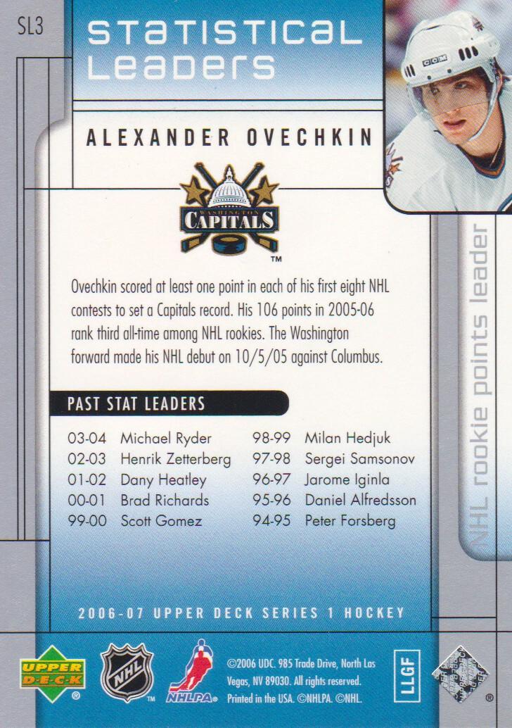 2006-07 Upper Deck Statistical Leaders #SL3 Alexander Ovechkin back image