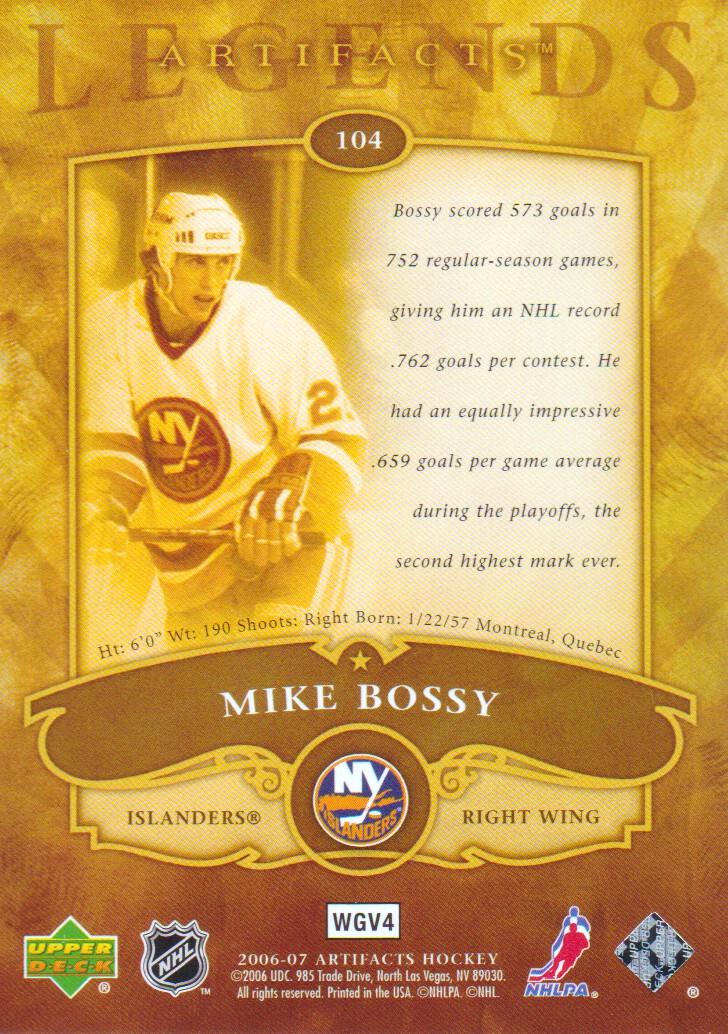 2006-07 Artifacts #104 Mike Bossy LEG back image