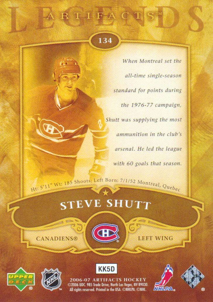 2006-07 Artifacts #134 Steve Shutt LEG back image