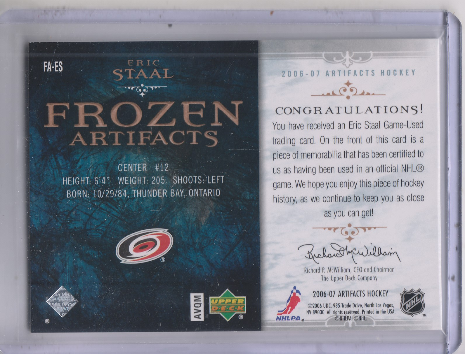 2006-07 Artifacts Frozen Artifacts #FAES Eric Staal back image