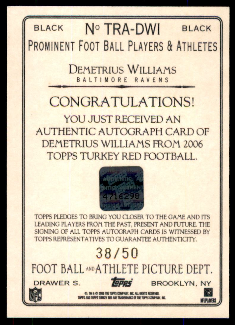 2006 Topps Turkey Red Autographs Black #DWI Demetrius Williams/50 back image