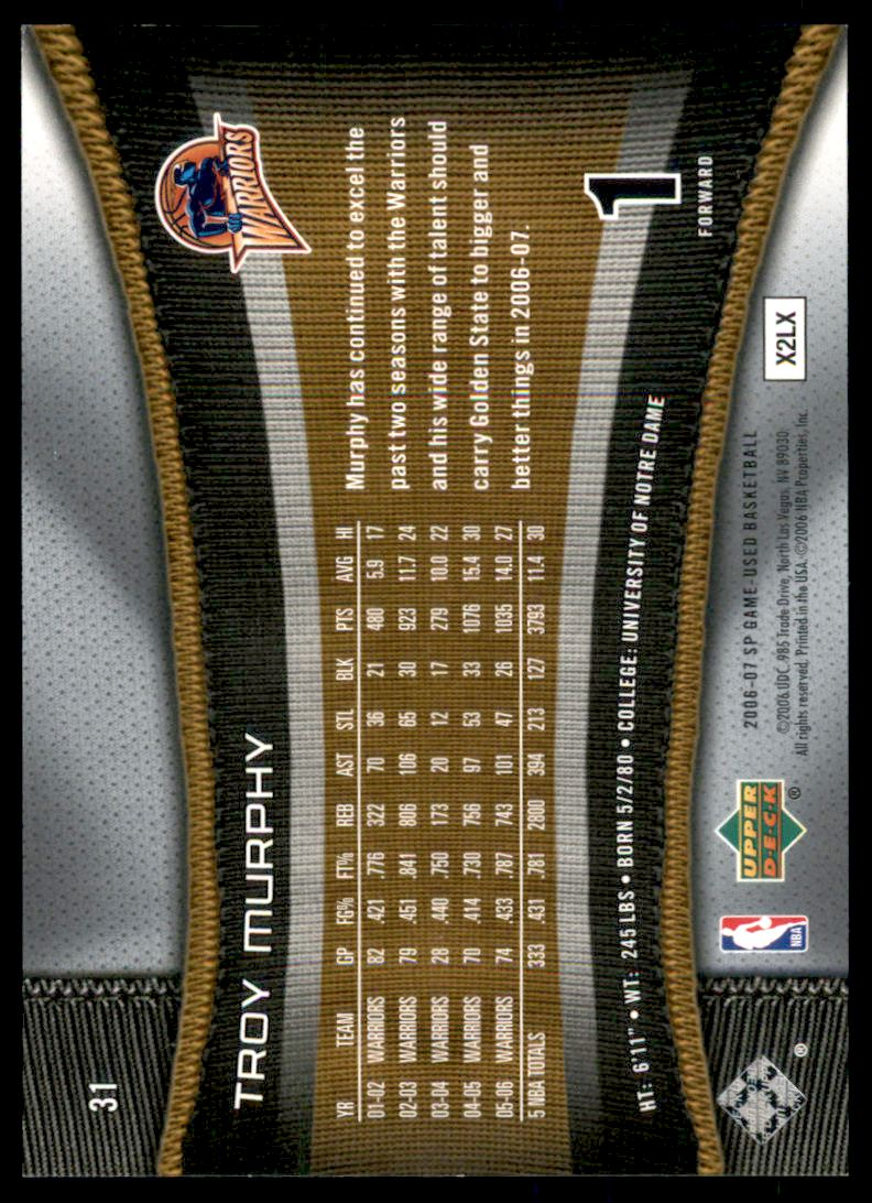 2006-07 SP Game Used Rainbow #31 Troy Murphy back image