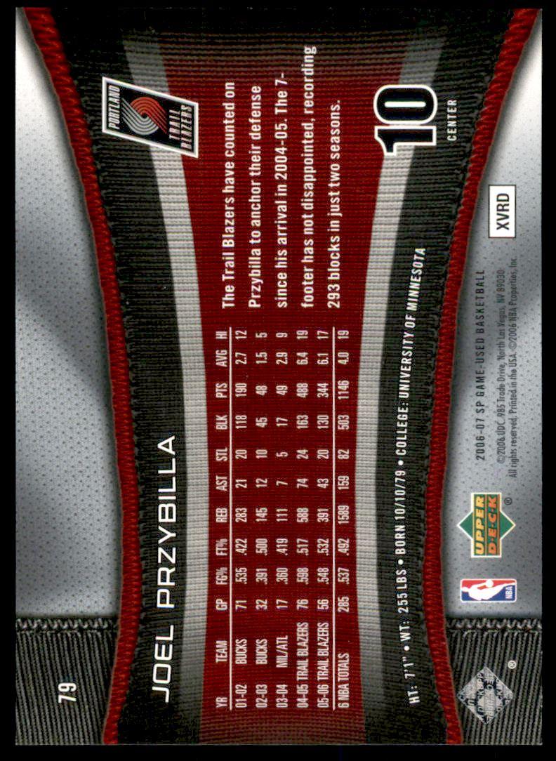 2006-07 SP Game Used Rainbow #79 Joel Przybilla back image