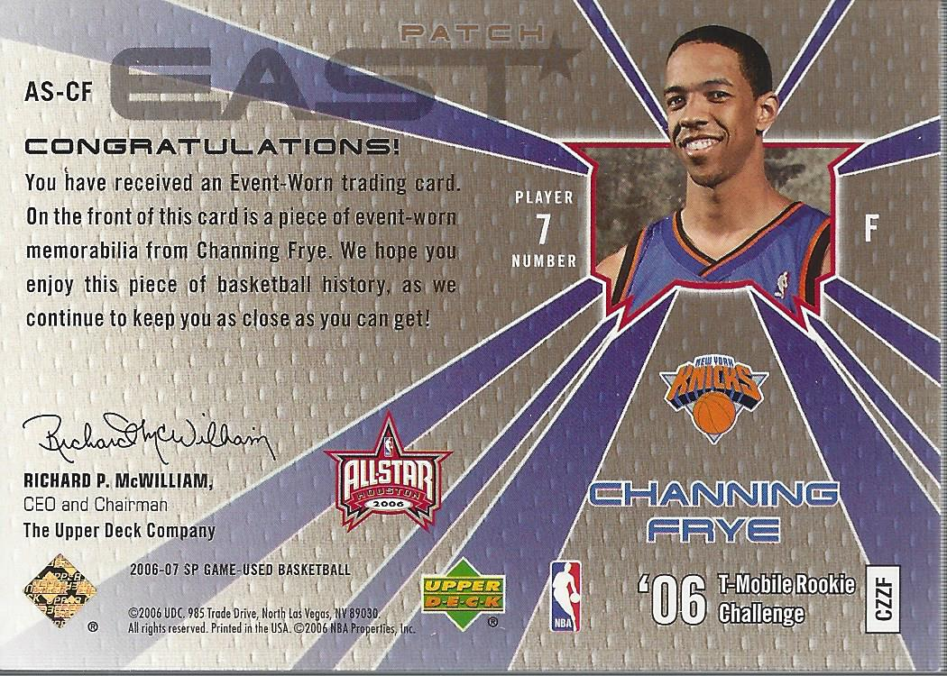 2006-07 SP Game Used All-Star Memorabilia Patches #CF Channing Frye back image