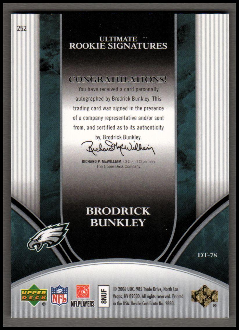 2006 Ultimate Collection #252 Brodrick Bunkley AU/275 RC back image