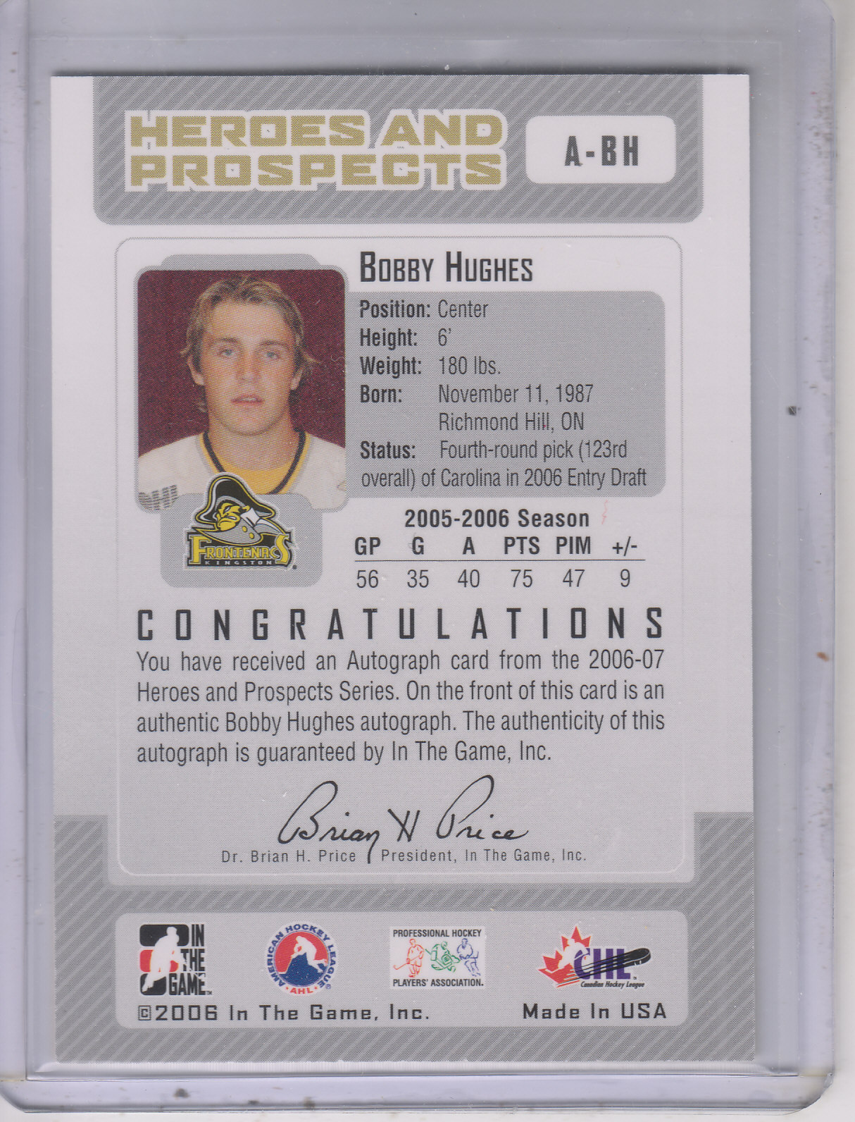 2006-07 ITG Heroes and Prospects Autographs #ABH Bobby Hughes back image