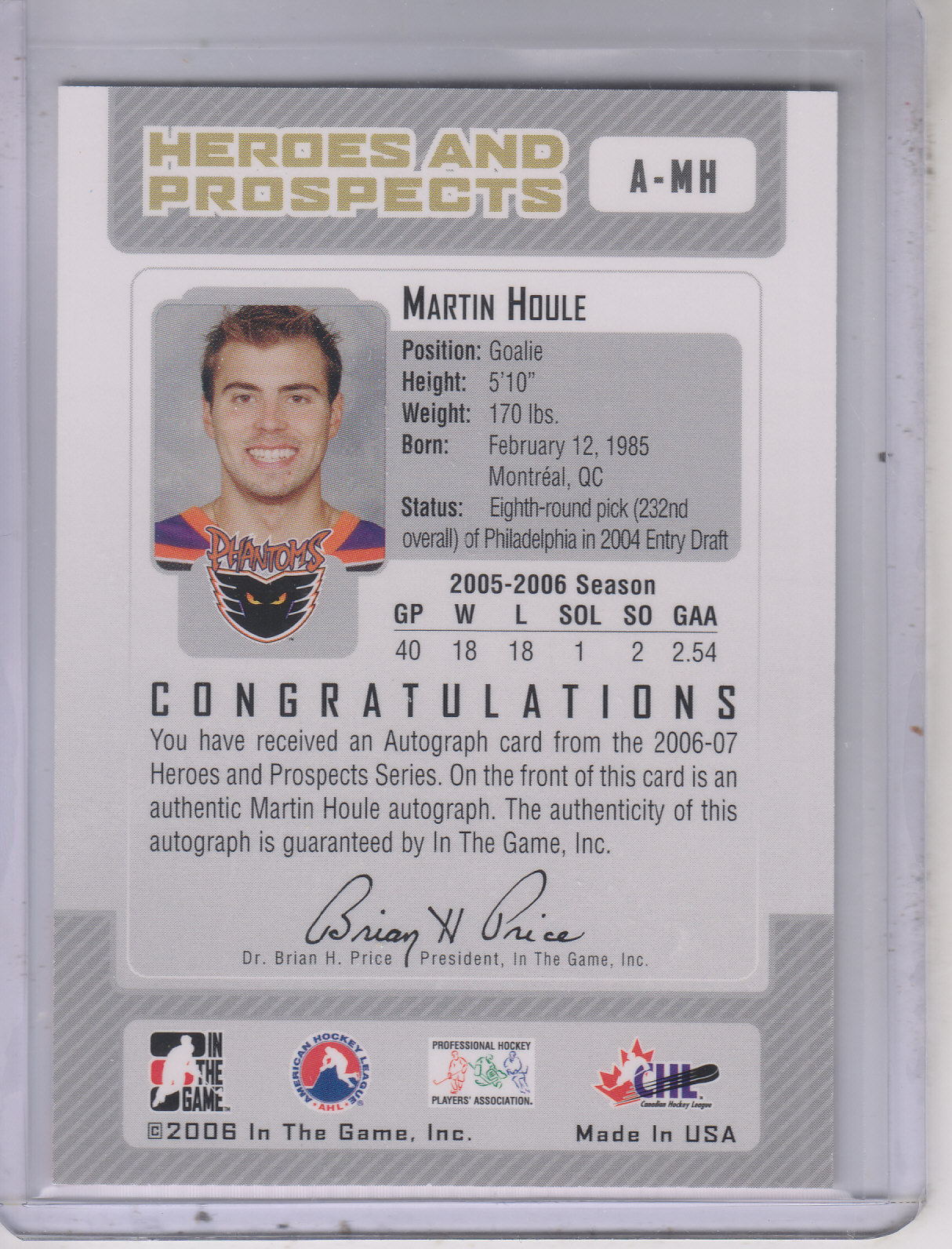 2006-07 ITG Heroes and Prospects Autographs #AMH Martin Houle back image