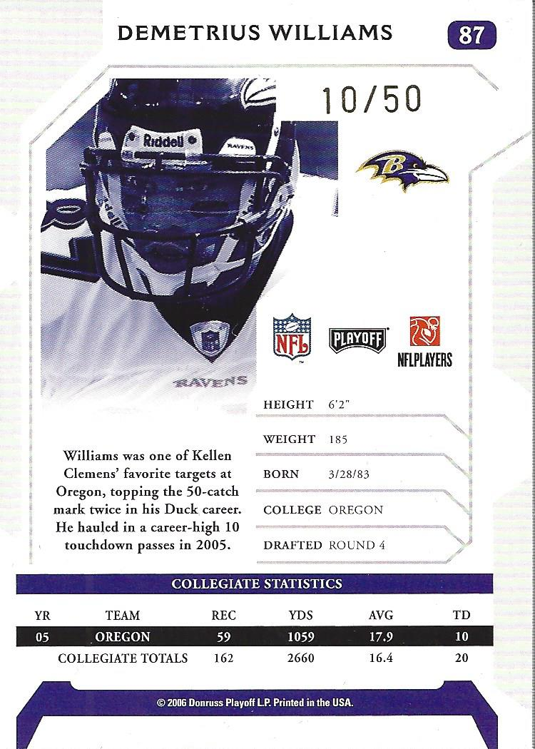 2006 Playoff NFL Playoffs Signature Proofs Gold #87 Demetrius Williams back image