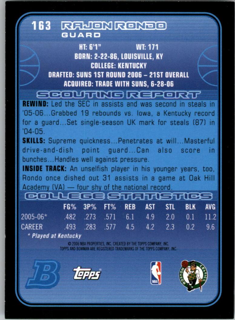 2006-07 Bowman #163 Rajon Rondo RC back image