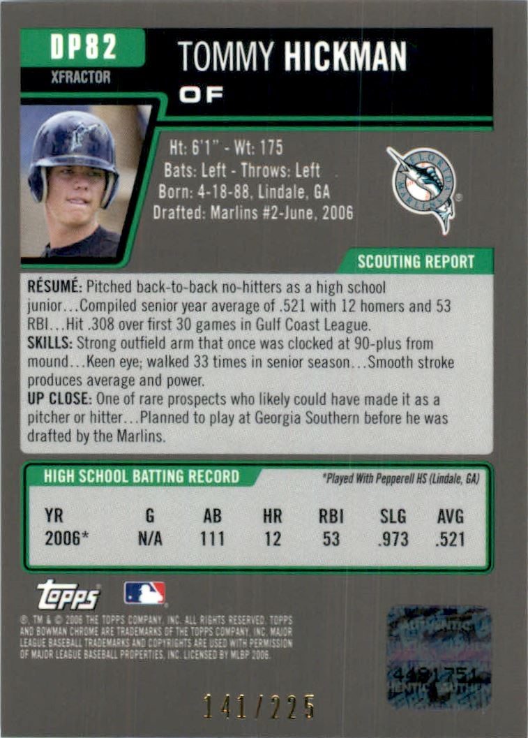 2006 Bowman Chrome Draft Draft Picks X-Fractors #82 Tommy Hickman AU back image