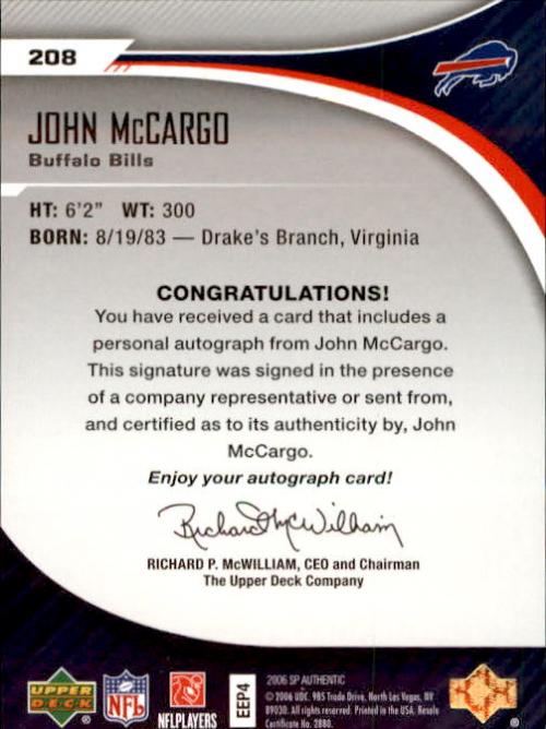 2006 SP Authentic #208 John McCargo AU RC back image