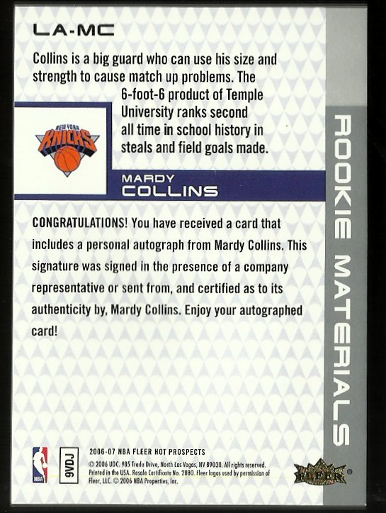 2006-07 Fleer Hot Prospects Rookie Materials Letter Autographs #MC Mardy Collins back image