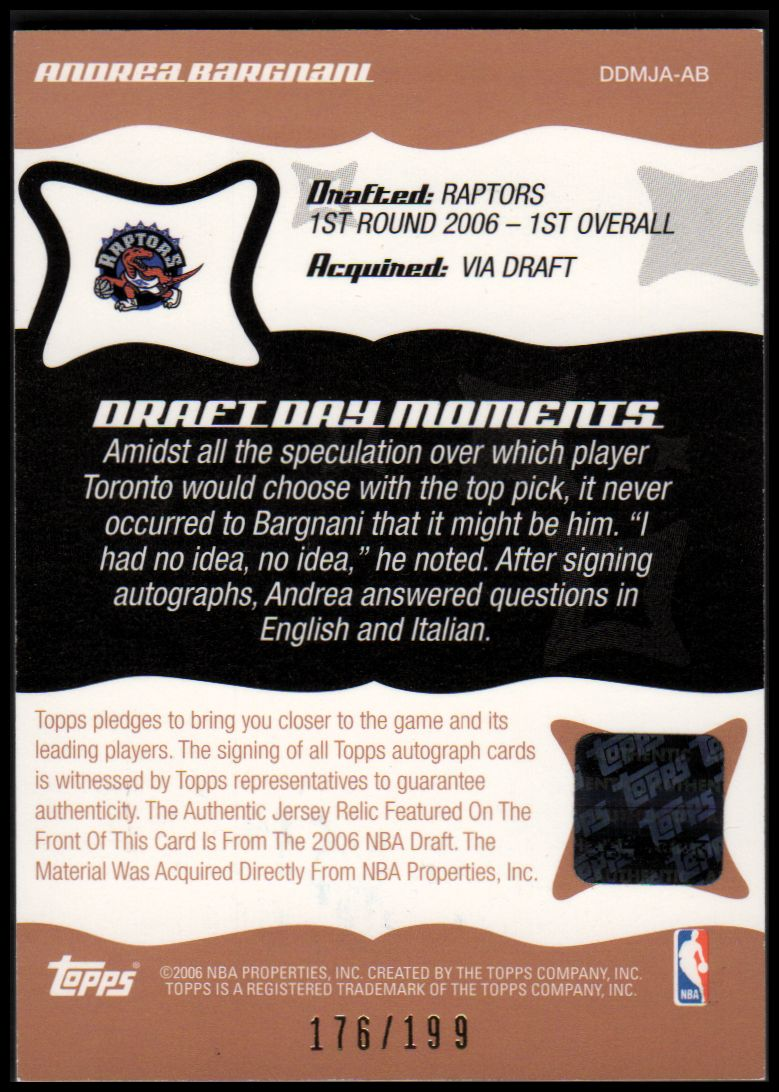 2006-07 Topps Big Game Draft Day Moments Jerseys Autographs #AB Andrea Bargnani back image