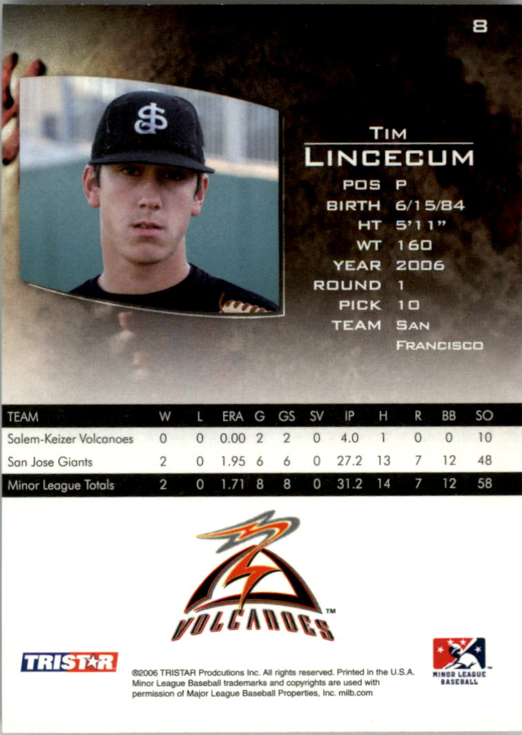 2006 TRISTAR Prospects Plus #8 Tim Lincecum PD back image