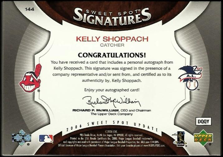 2006 Sweet Spot Update Rookie Signatures Bat Barrel Black Ink #144 Kelly Shoppach/35 back image